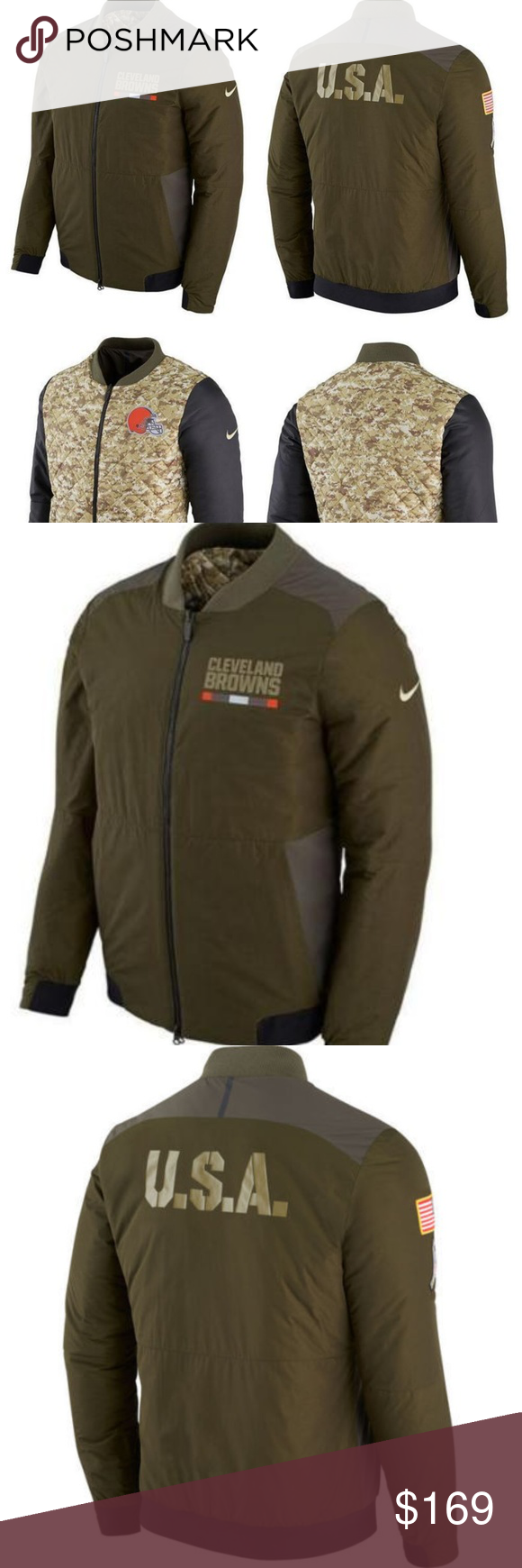 86d4c00814a Nike Cleveland Browns NFL Reversible Bomber Jacket Cleveland Browns 2017  NFL Nike Salute to Service Reversible