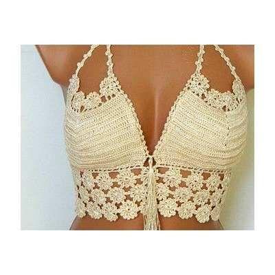 40c5106a2278 Top Cropped Croche Com Flores - R$ 39,99 em Mercado Livre   Biquini ...