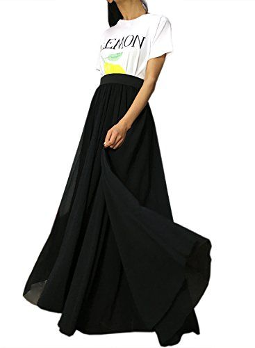 e9818283bf6d Futurino Womens High Waist Floor Length Chiffon Flowy Black Maxi Skirt >>>  Click for Special Deals #MaxiSkirts