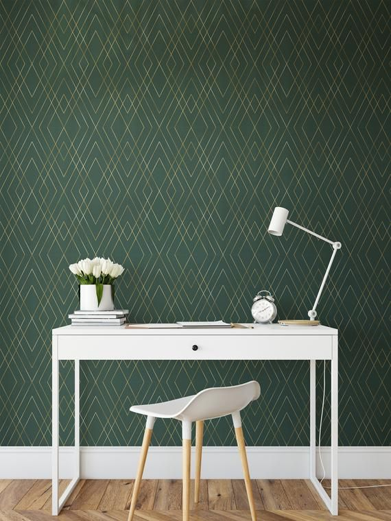 Green Gold Peel And Stick Wallpaper Self Adhesive Geometric Etsy Accent Walls In Living Room Green Accent Walls Peel And Stick Wallpaper