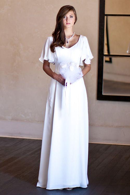 Flutter Sleeve Wedding Dress Elegant Flutter Sleeve Silk - Flutter Sleeve Wedding Dress