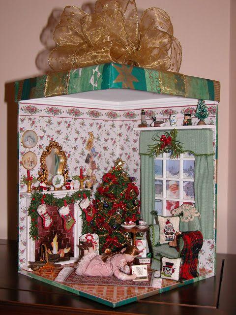 Casa De Muñecas Decoración 6 bolas en una caja en miniatura adornos de árbol de Navidad