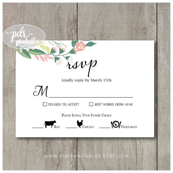 Wedding Meal Option Reply Card Fl By Pdrprintables
