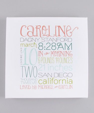 Take a look at this Pink & Blue Personalized Birth Date Canvas by remember the days on #zulily today!