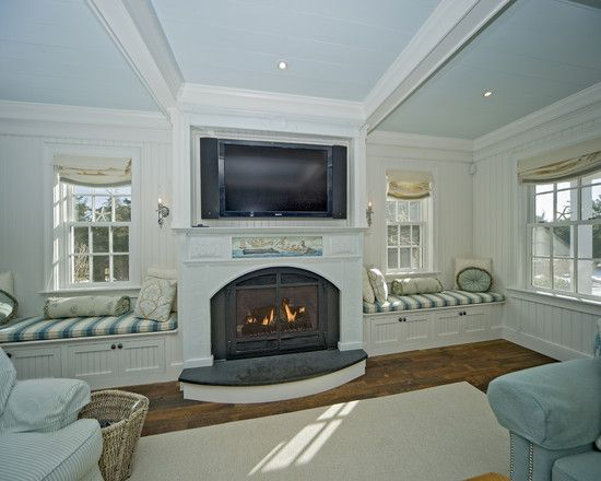 Windows Next To Fireplace Home Design Ideas Pictures Remodel And Decor Fireplace Seating Window Seat Design Family Room Windows