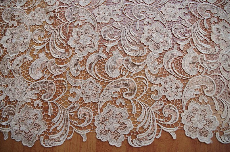 champagne lace fabric, crocheted lace fabric, venice lace fabric by the yard