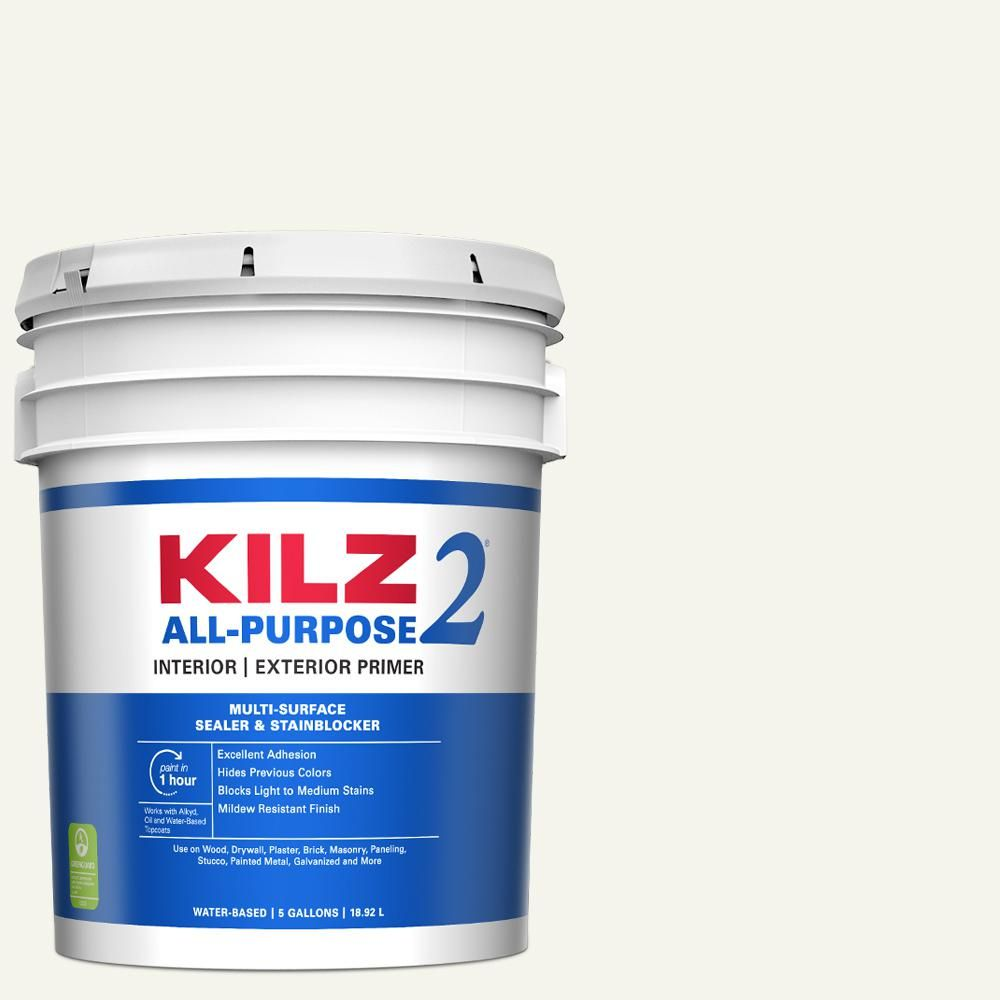 Kilz 2 All Purpose 5 Gal White Interior Exterior Multi Surface Primer Sealer And Stain Blocker 20000 With Images Exterior Primer Sealer Cover Stains