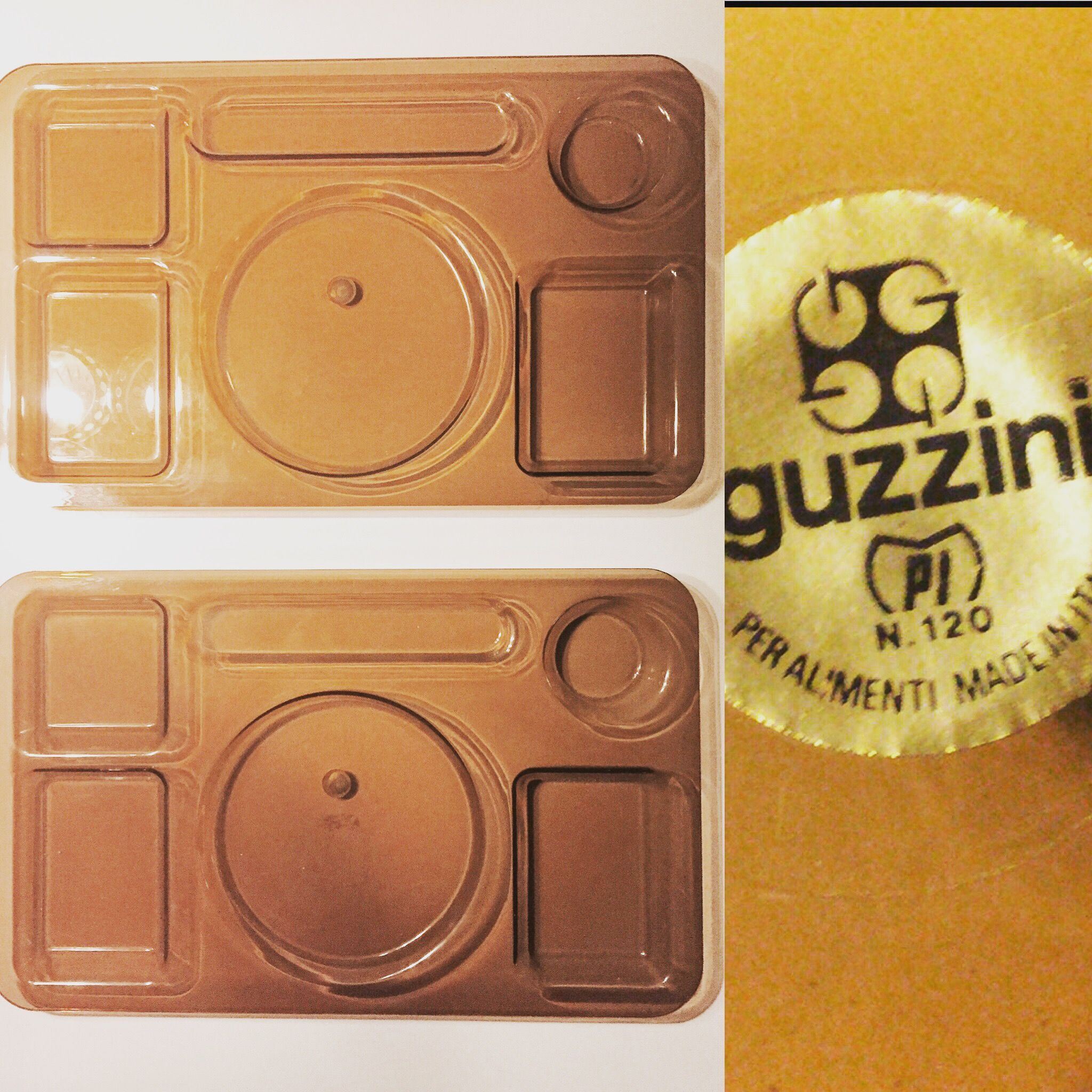 GOOD GANGA  Two vintage serving trays, food trays (What do you call these? Anyone?) in brown smoke plexiglass, Guzzini, Italy.  #Guzzini #GuzziniPerAlimenti  #smokeglass #plexiglass  #vintage #seventies #plastic  Join Good Ganga on Facebook.