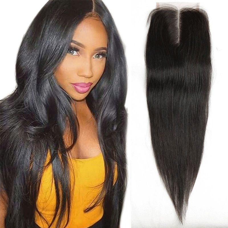 10 Inch Middle Part Lace Closure Straight 4x4 130 Density Top 9 A