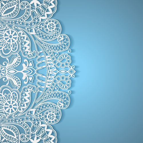 White lace with colored background vector set 04