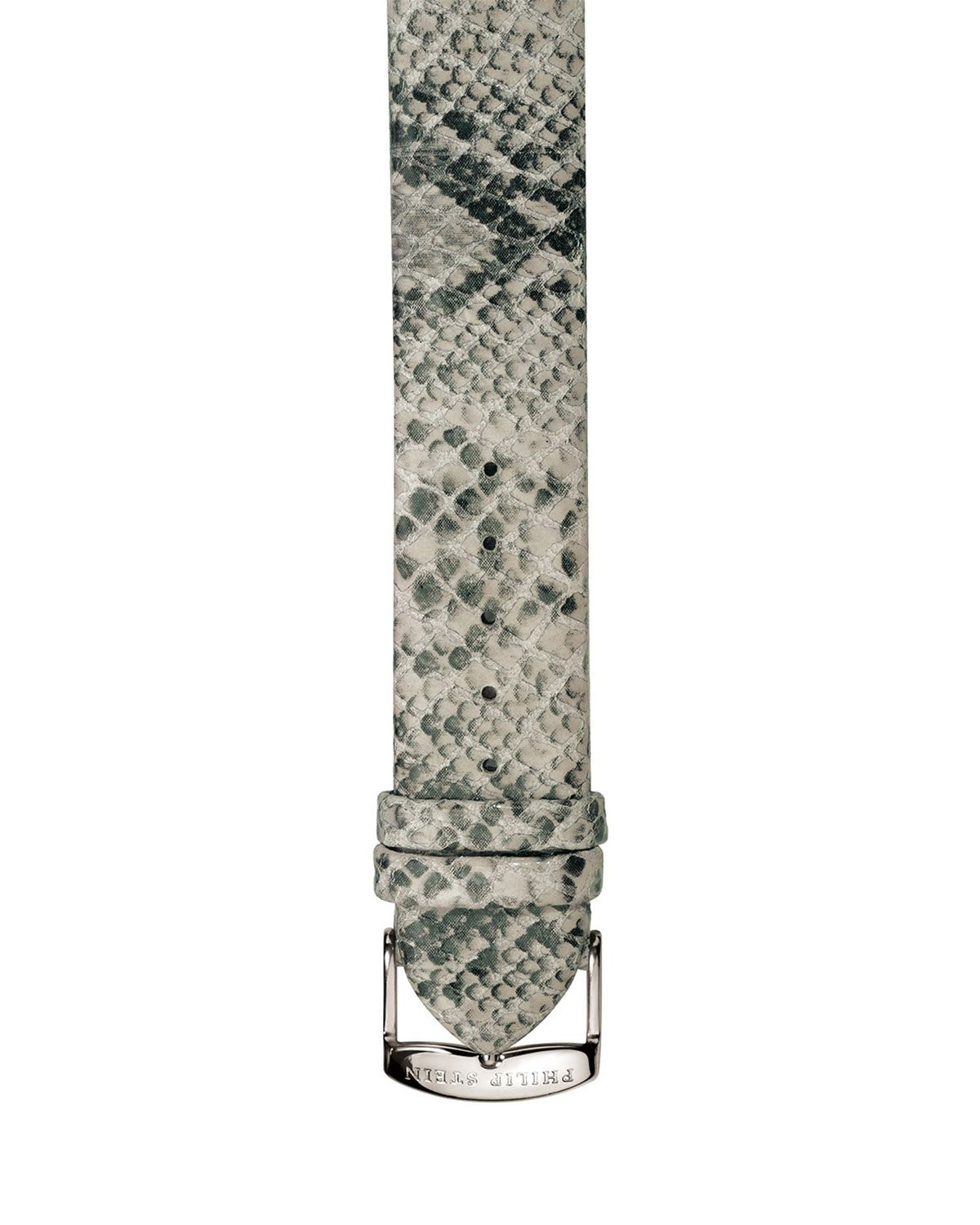 Philip Stein 18mm Python-Print Leather Watch Strap, Black, Women's