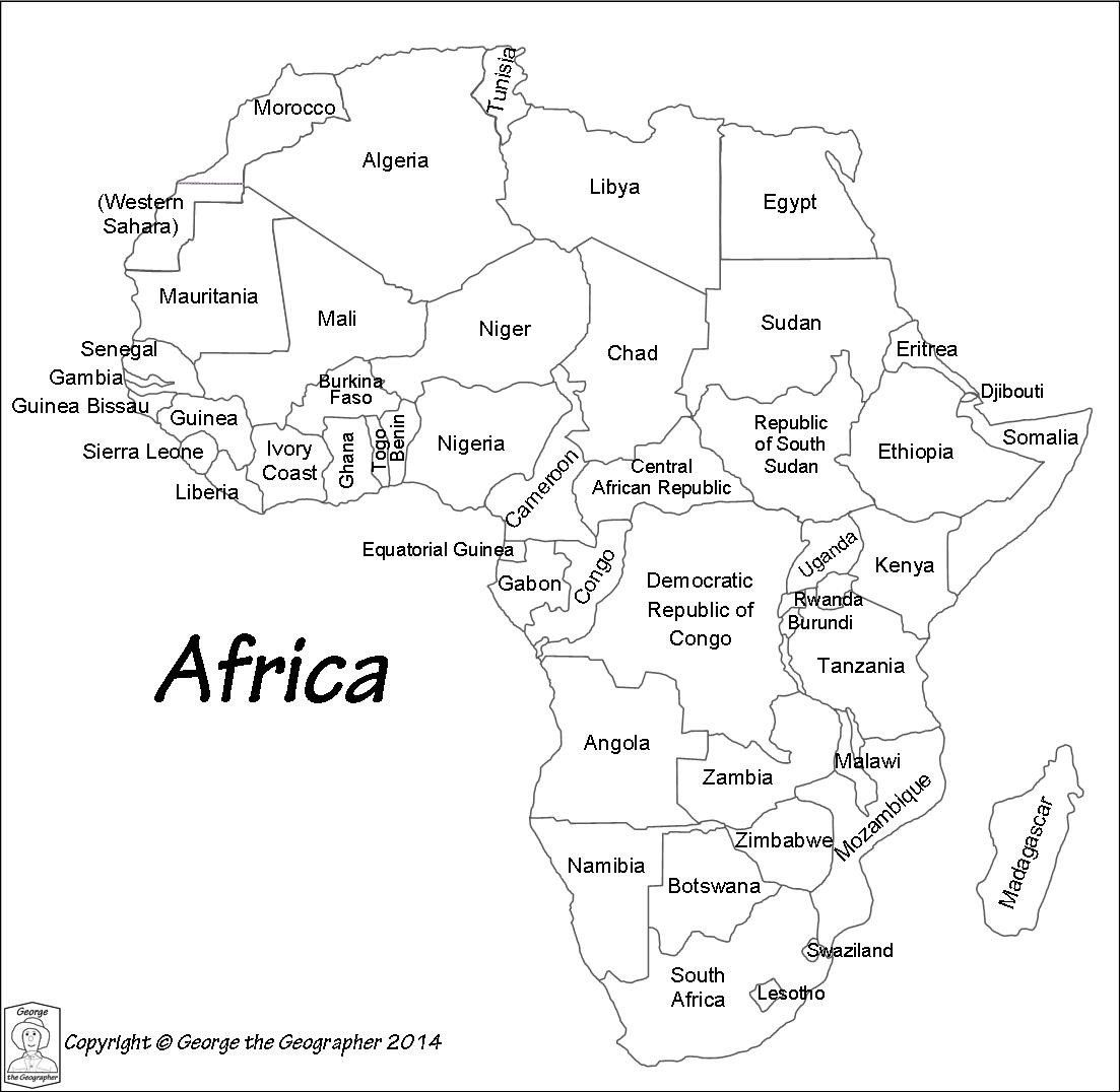 Map Worksheets For Kindergarten Countries Africa