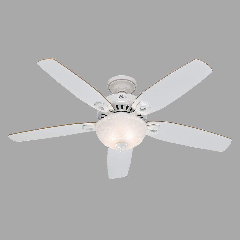 Hunter Builder Deluxe 52 In Indoor White Ceiling Fan With Light Kit 53089 The Home Depot White Ceiling Fan Ceiling Fan Ceiling Fan With Light