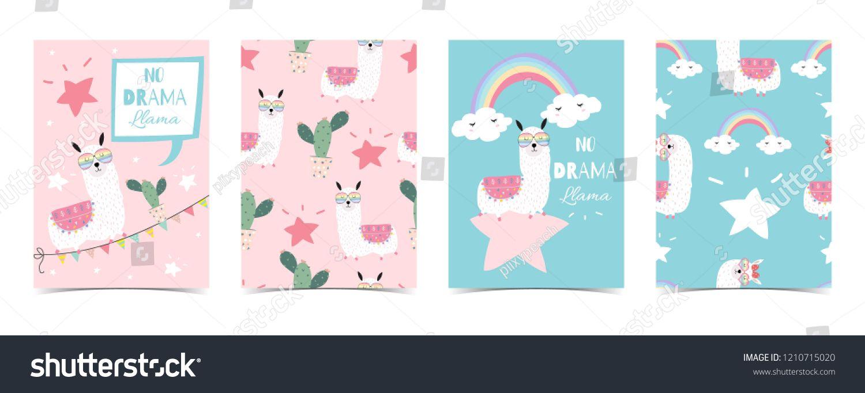 31c38a807 Blue pink hand drawn cute card with llama, star glasses,cactus,balloon and  rainbow.No drama llama in bubblecute#card#llama#drawn