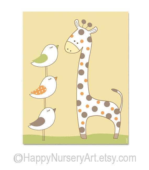 Poster for kids room or nursery,boy wall art for bedroom,giraffe ...
