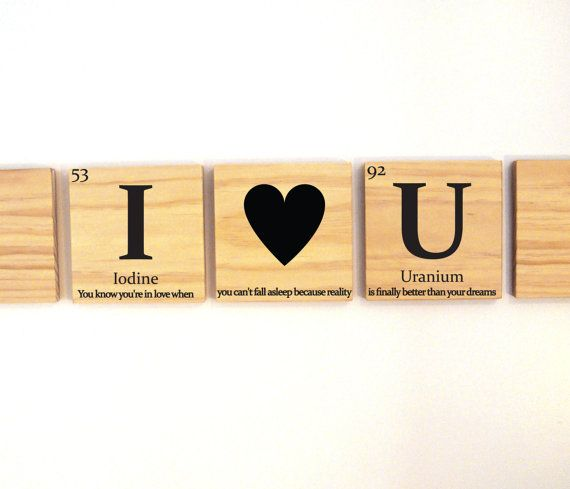 I heart U wooden tile wall art with quote, love gift, anniversary ...
