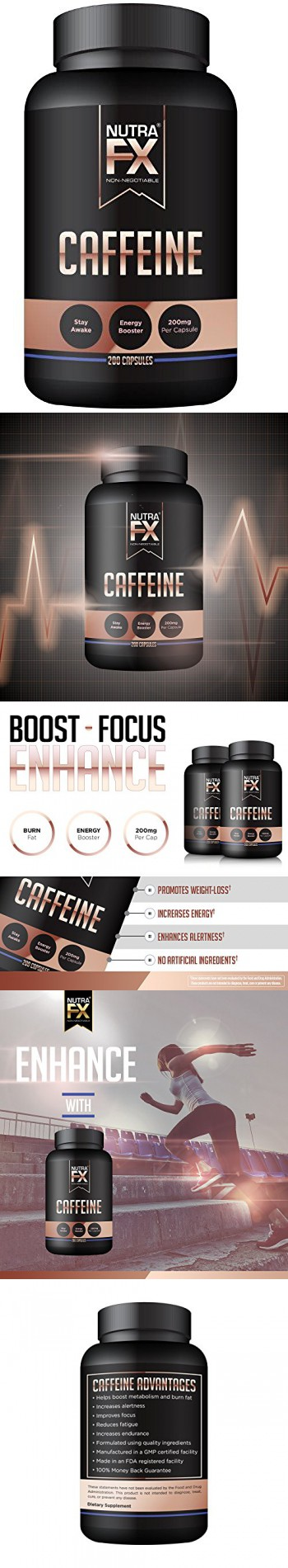 NutraFX Caffeine Pills 200mg Natural Energy and Focus Stimulant - stay awake