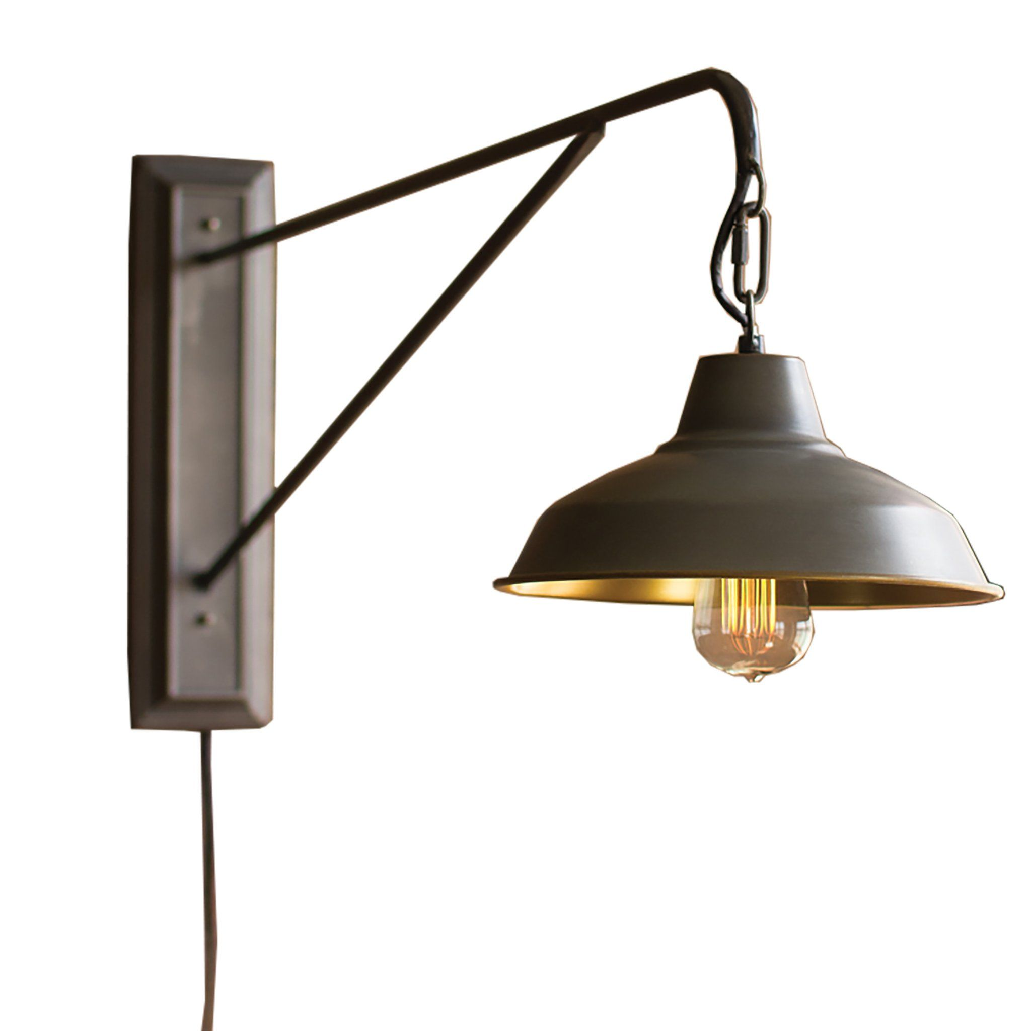 Farmhouse industrial modern plug in wall sconce whether