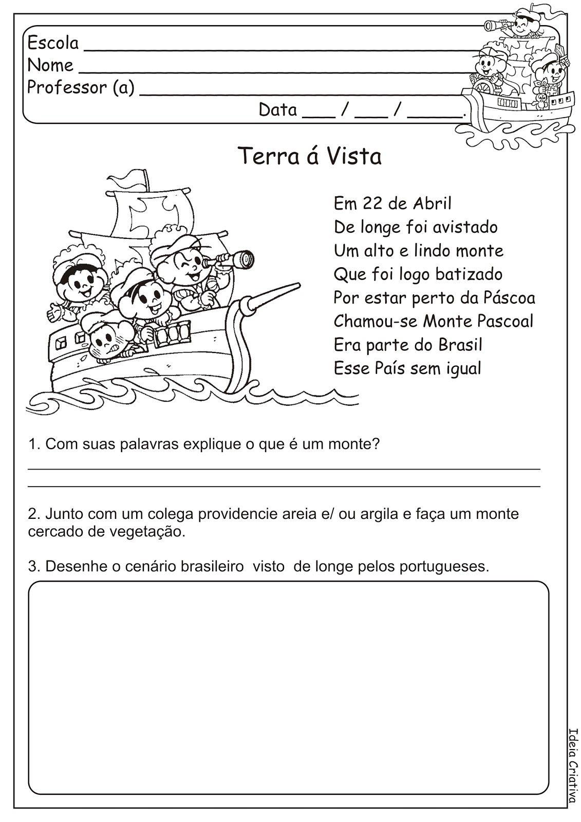 Atividade Descobrimento Do Brasil Monte Pascoal Turma Da Monica