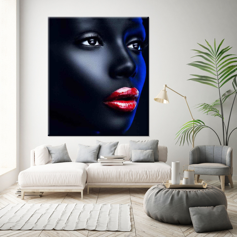 Black Woman Art Decor Modern Wall Art Black Woman In Red Etsy Large Canvas Wall Art Modern Art Decor Canvas Wall Decor