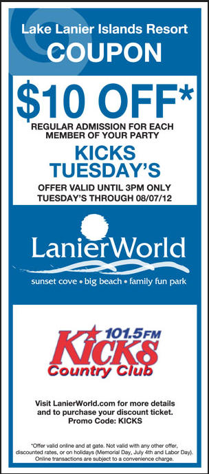 Lake Lanier Water Park Coupons Provide Visitors With Money Saving Opportunities On Admission To Lanierworld A In Islands Resort