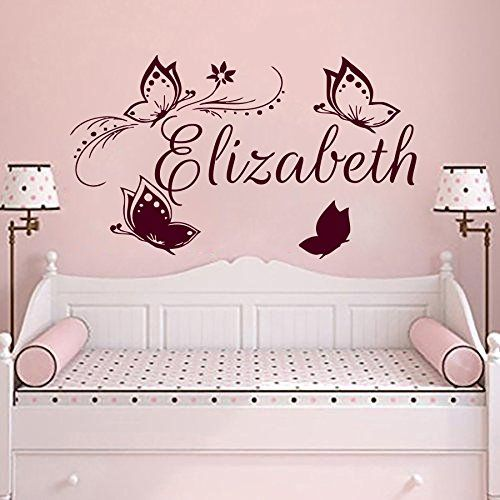 Wall decals butterfly personalized name decal vinyl sticker girl nursery room decor home bedroom interior design art mural