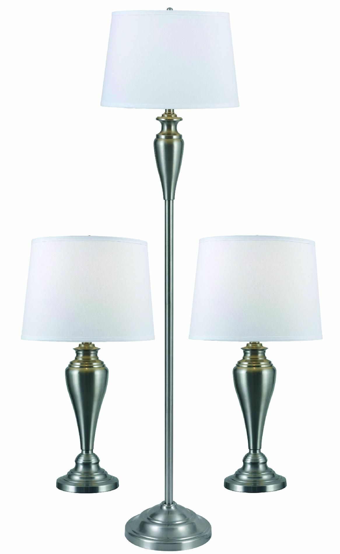Kenroy Home Edson 3-Pack Lamp Set, Silver