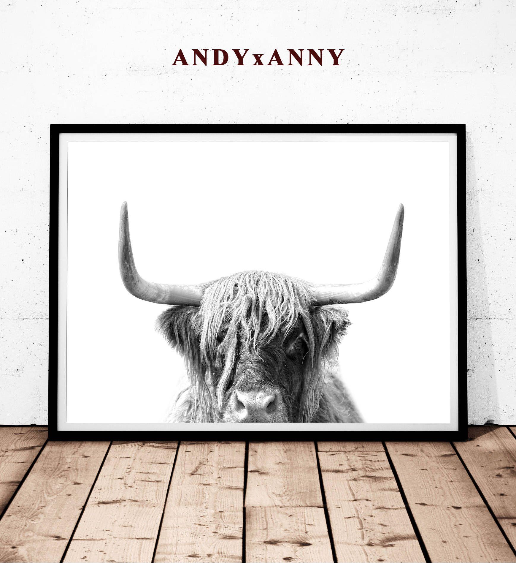 Highland Cow Print Printable Art Farm Animal Art