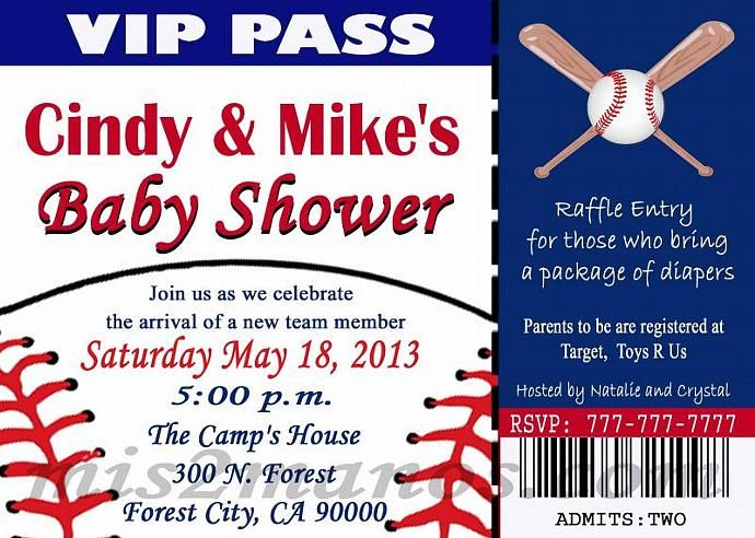 BASEBALL BABY Shower Invitation , Printable Ticket, DIY Birthday Cards  Print At Home Or At One Hour Photo Invitaciones De Beisbol