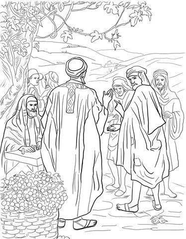 Matthew 20:1-16; Parable of the Vineyard Workers; Coloring