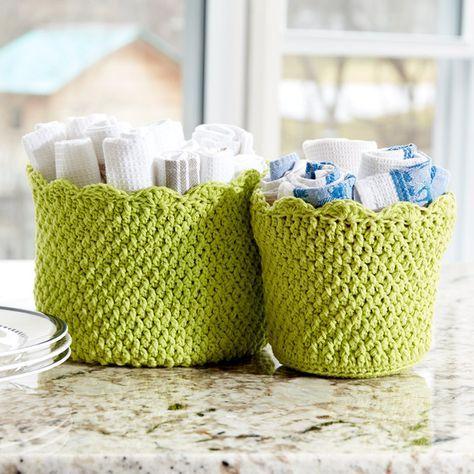 Scalloped Edge Crochet Baskets Make Your Own Basket Free Crochet