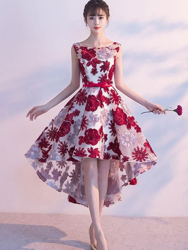 ae10793cc68 High Low Homecoming Dresses Burgundy Lace Short Prom Dress Party Dress JK622