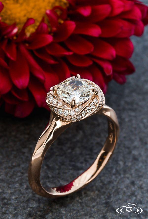 Twist Rose Gold Halo Cushion Diamond Engagement Ring. Green Lake Jewelry