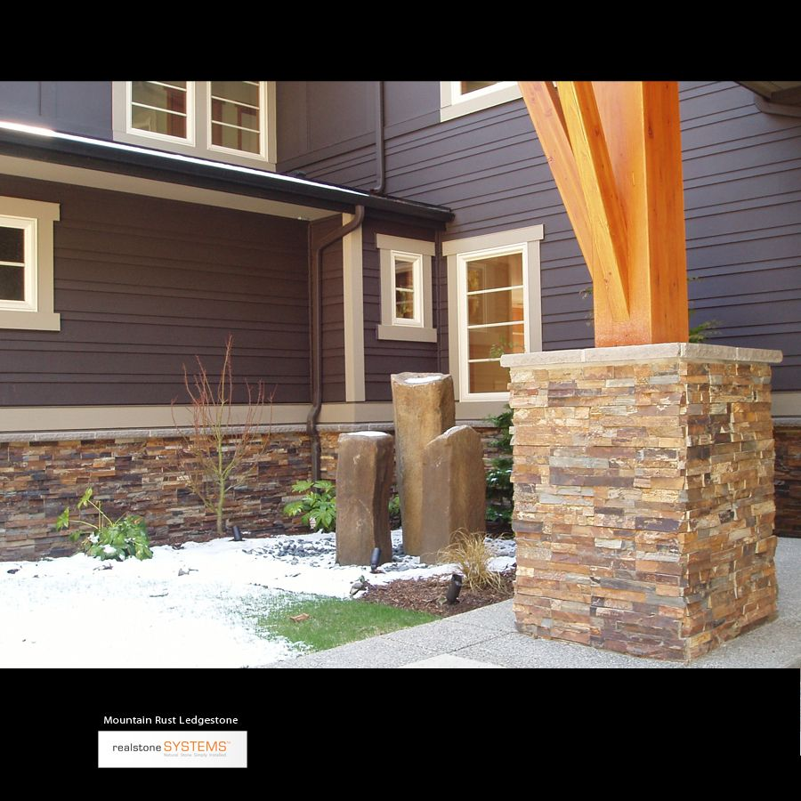 Blue with terracotta ledgestone house dreams pinterest for Exterior ledgestone