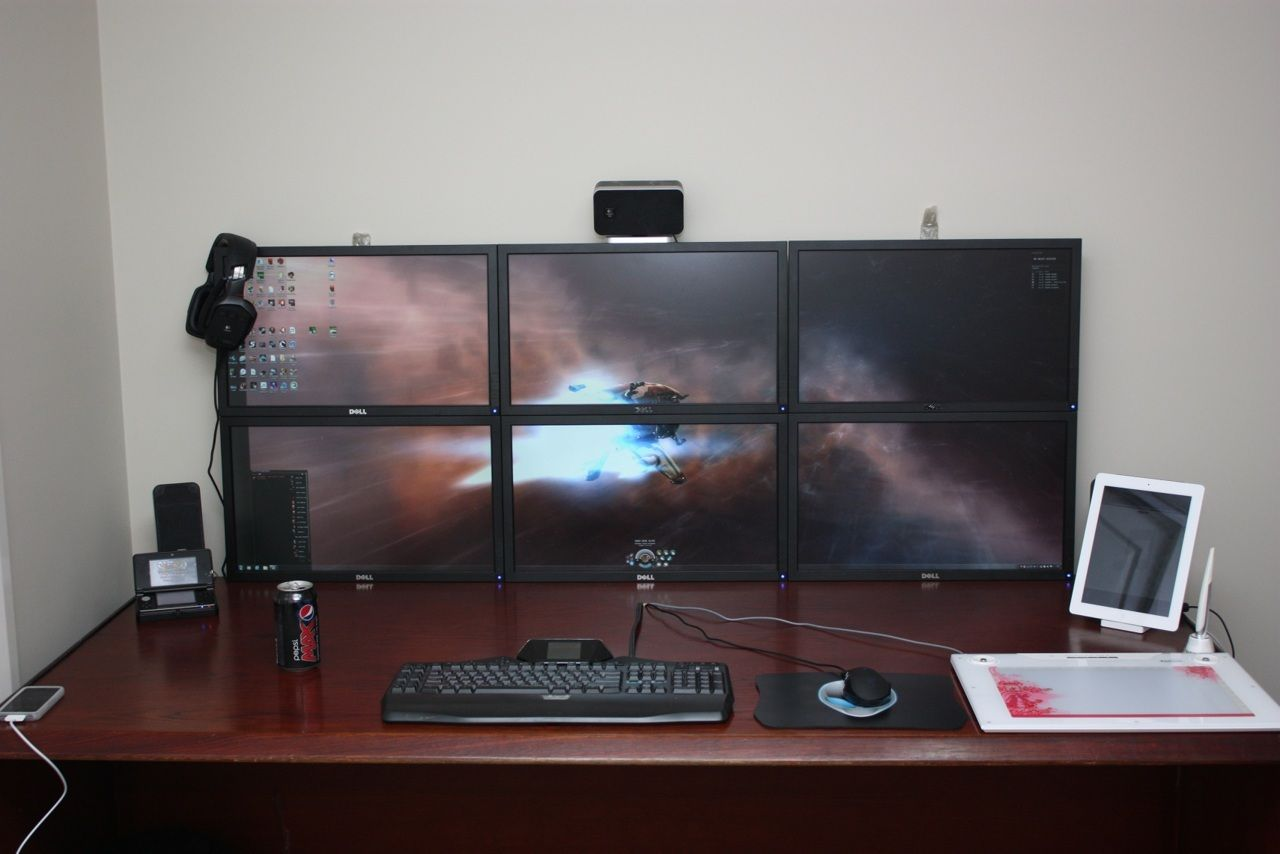 6 monitor setup looks awesome  I wonder what those monitors would