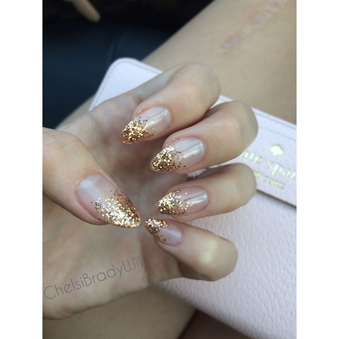 Champagne Gold And Clear Ombre Acrylic Nails My Wedding Nails Glitter Fade Nails Ombre Acrylic Nails Gold Sparkle Nails