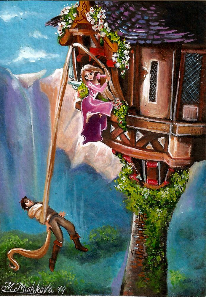 Original Aceo Disney Tangled Princess Rapunzel Flynn Rider Tower M Mishkova Watercolor Art