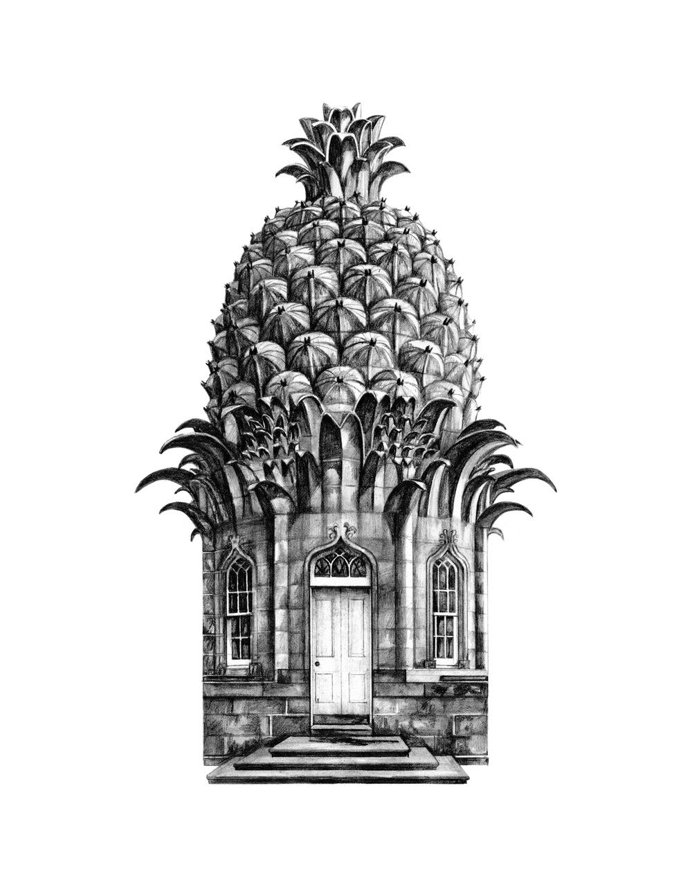 Dunmore Pineapple Scotland Architecture drawing art