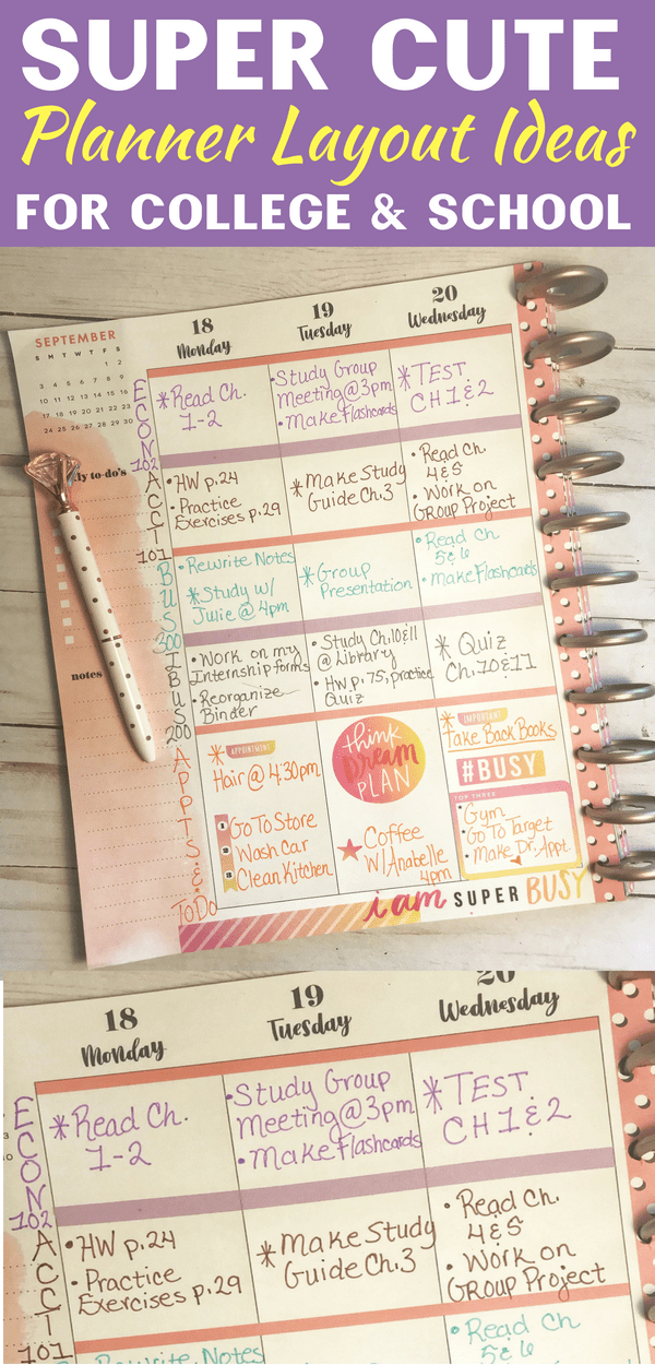 Creative Planner Layout Ideas For College & School  Happy Planner is part of Organization College Things - These planner layout ideas for college & school are so creative! I used my Happy Planner for these layouts  This will help you keep all your studies organized!