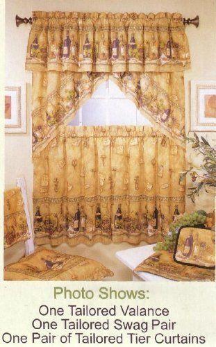 Napa Valley Valance By The Curtain Shop Http Www Amazon Com Dp B003tx9d1c Ref Cm Sw R Pi Dp P0lzpb172dxrx Wine Theme Kitchen Curtains Valance