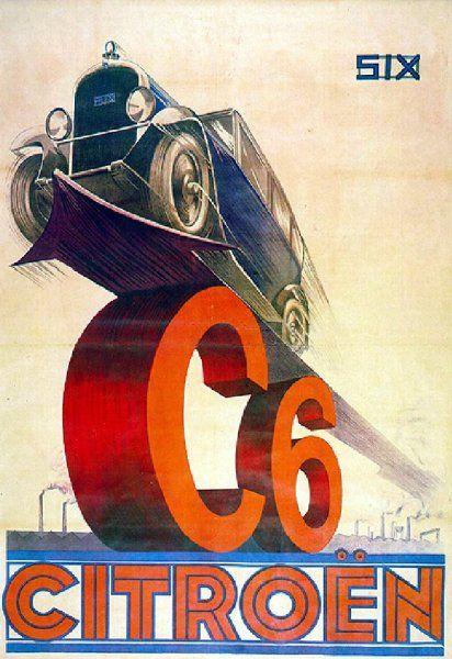 Citroen C6 Citroen Vintage Poster Art Racing Posters