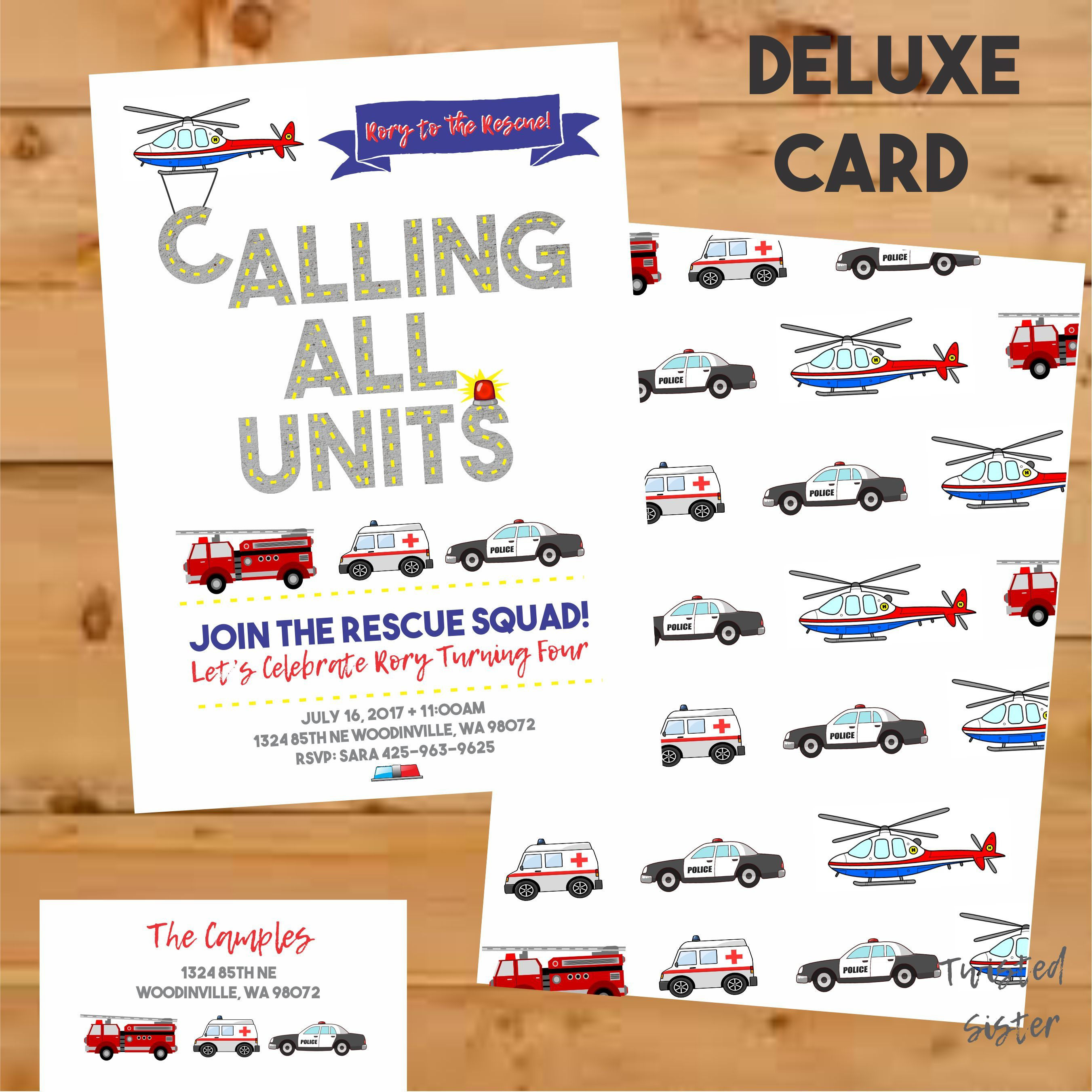 Firetruck birthday invitation Emergency vehicles birthday Boy