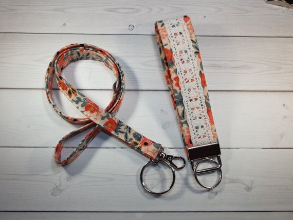 students teachers nurses Skinny rose peach fabric lanyard // keychain // key chain
