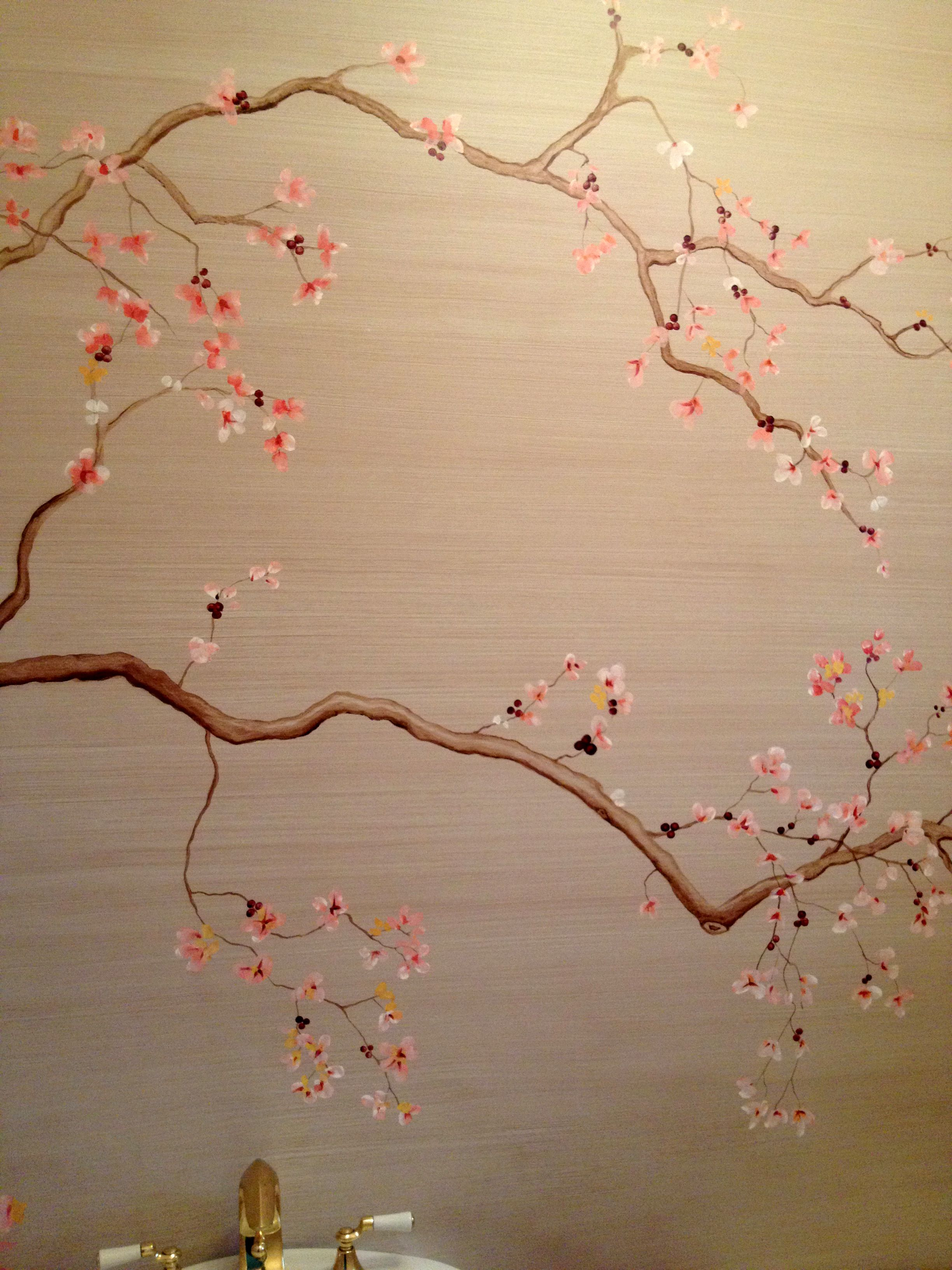 Chinoiserie 6 Artistic Finishes Flowery Wallpaper Tree Wall Murals Tree Wallpaper Bedroom
