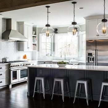 Charcoal Gray Kitchen Island With Backless Industrial Metal Counter Stools Grey Kitchen Island Grey Kitchen Designs Modern Kitchen Design