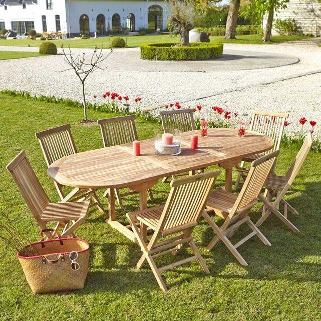 Salon De Jardin En Bois De Teck 8 À 10 Places - Taille : 10 ...