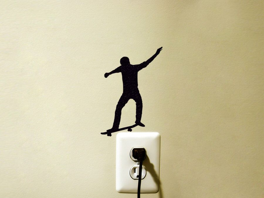 Skateboard Light Switch Fabric Sticker - Skateboarding Vinyl Wall ...