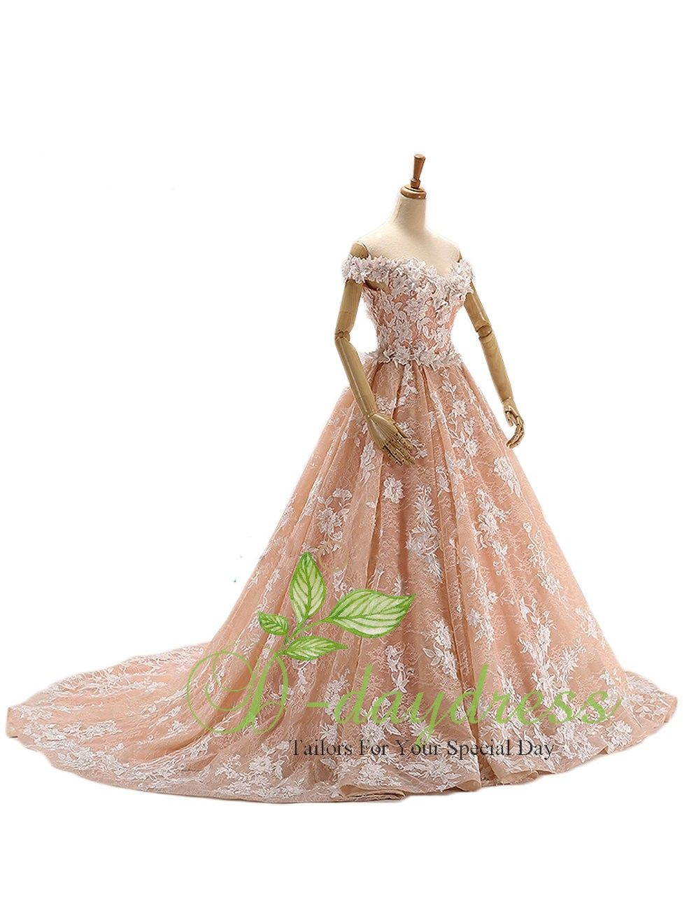 Orange pink ball gown long sweetheart appliqued floral lace bridal