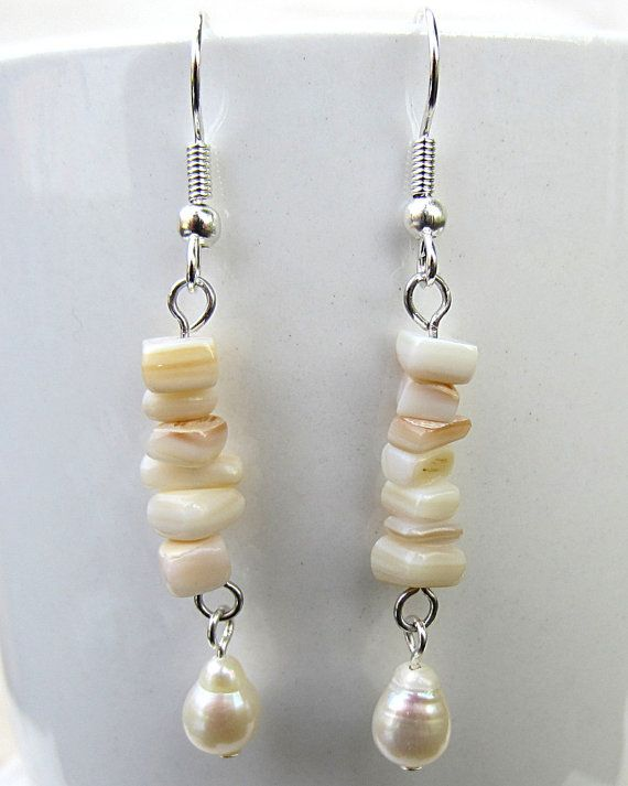 Pearl and Mother of Pearl Necklace Necklace by SaltwaterDaydreams