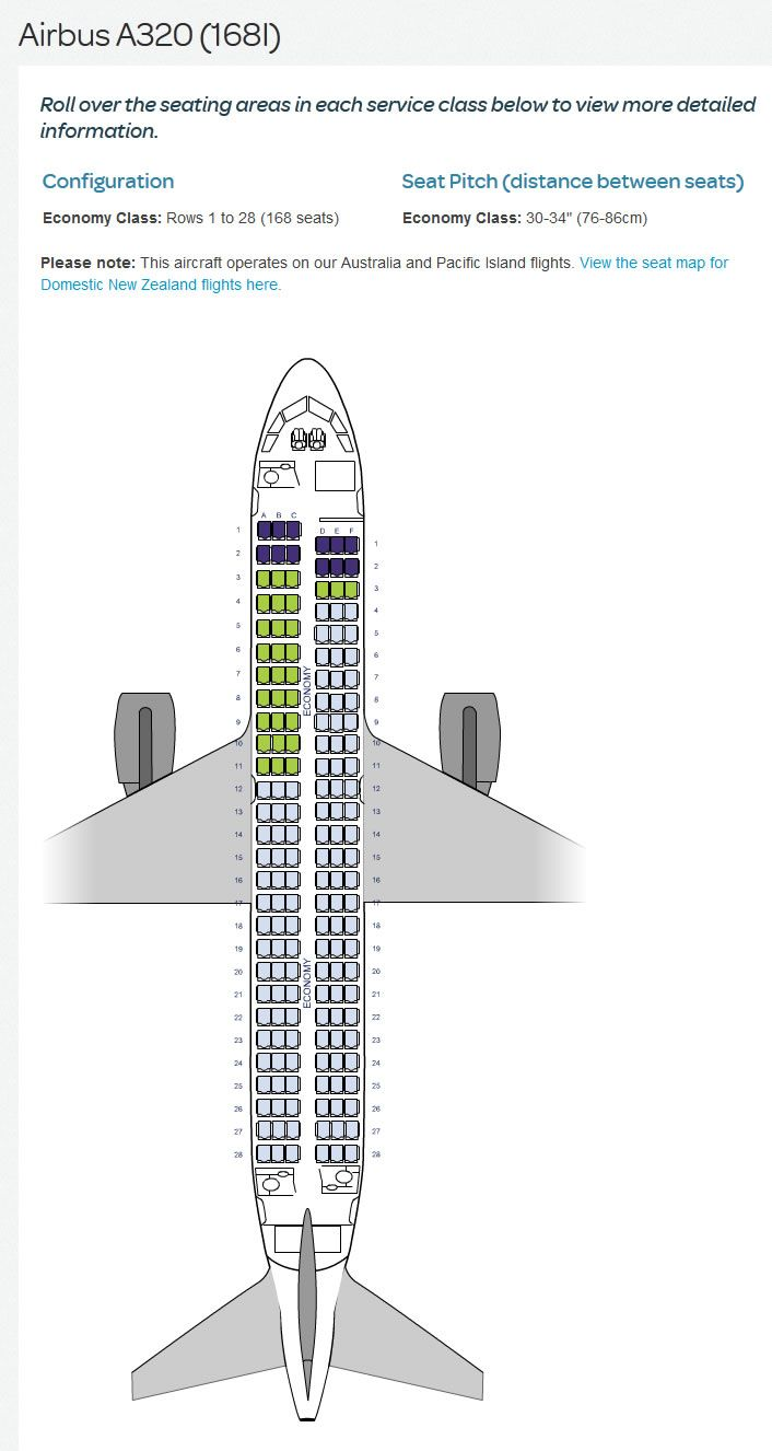 AIR NEW ZEALAND AIRLINES AIRBUS A320 AIRCRAFT SEATING ...
